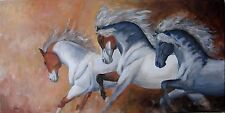 "Grand Tableau original de Caillon 80x40 cm ""les 3 anges"" cheval anglo arabe"
