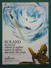 1982 PUB EUROMISSILE MISSILE ROLAND SYSTEME DEFENSE ANTI AERIEN FRENCH AD