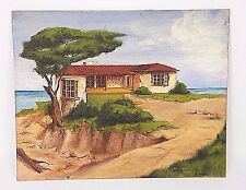 COONLEY 1938 OLD VtG OiL PAiNTiNG PUEBLO ADOBE OCEAN CLiFF HOUSE SOUTHWEST 8x10