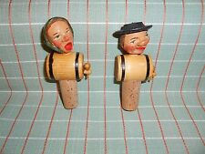 ANRI COUPLE KEG BARREL Wood Wine Bottle Stopper  UNUSED Italy