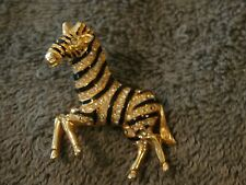 Hattie Carnegie Gold Tone  Zebra Rhinestone Black Enamel Brooch Pin 3D Perfect