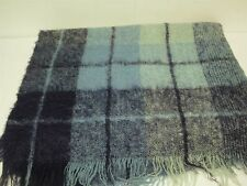 VINTAGE NAVY & BABY BLUE CHECK SOFT 100% MOHAIR WOOL THROW BLANKET 50x72