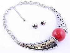 SILVER TONE ARMADILLO STYLE RED STONE BALL BEAD CHUNKY NECKLACE EARRING SET