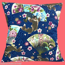 BRAND NEW JAPANESE ASIAN ORIENTAL KOI CARP AND FLOWER FANS NAVY 16 Cushion Cover