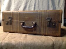 Vintage 40s ANTIQUE TWEED WITH STRIPES HARD SHELL SUITCASE 21 x 17 X 8""