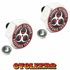 2 Silver Hex Billet License Plate Frame Tag Bolt for Harley - ZOMBIE OUTBREAK RW