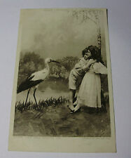"K216 - 1905 STORK & CHILDREN POSTCARD ""Don't Let Him Touch Me"" with Stamp"