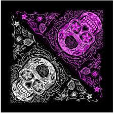Skull Blumen Rockabilly Tiki Paisley Sterne Rosen Tuch Bandana Kopftuch Halstuch