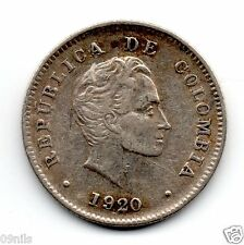 1920 Republica de Colombia 10 Centavos South America, Silver Simon Bolivar, #B6