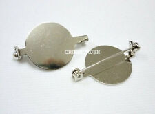 20pcs Silver Plated Flat Back Blank Round with Pin back Bar Brooch.--20mm -- C70