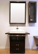 Modern Espresso Home Renovation Bathroom Vanity Set with Mirror & Side Cabinet