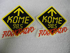 """KOME 98.5 FM - (Set of 2) DECALS/STICKERS - """"ROCK RADIO"""" - NEW - Limited Edition"""