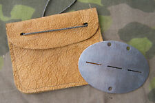 Reproduction German WWII Aluminum Identification Disc With Leather Pouch