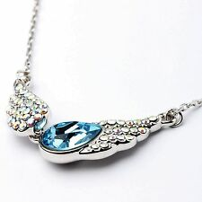 Austrian Blue Crystal Angel Wings Necklace Pendant White Gold Plated From UK Sho