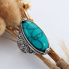 Vintage Oval Red/Green/Blue Turquoise Ring Tibet Tribe Silver Jewelry Size 7-10