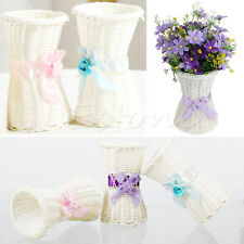 1Pc Artificial Rattan Vase Flower Fruit Basket Candy Storage Garden Party Decor