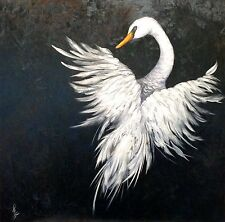 """Angel in Flight"" Original Oil Painting swan bird wings feather feathers"