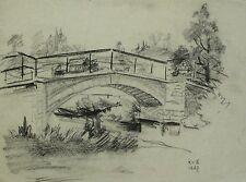 Kohlezeichnung 1887 - MONOGRAMMIST RvB - Flussbrücke
