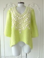 MW008196 - FASHION NEON YELLOW BEADED KNITTED SWEATER TOP (FREE SIZE)