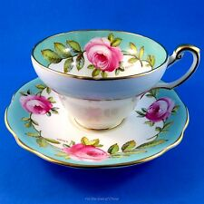 Signed A Taylor Pink Rose Border Foley Tea Cup and Saucer Set