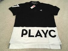 PLAY CLOTHS SPELLOUT POLO SHIRT BLACK WHITE LARGE L supreme diamond palace