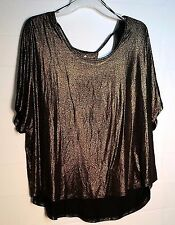 Juicy Couture Size XL Black Bronze Gold Women's Tunic Top Open Back Sparkly