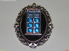 steampunk brooch badge silver black tardis Doctor Who police box timelord geek