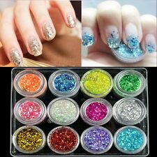 Art Powder 12 Colors Nail Decoration For UV Gel Acrylic Powder Glitter Dust 35DI