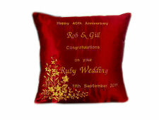 New Gold Embroidered Personalised 40th Anniversary Ruby Wedding Gift Cushion