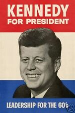 John F. Kennedy JFK 1960 Presidential Campaign reprint 11 x 17 Poster Picture