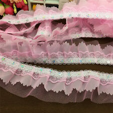 5Yrds 4-layer 55MM Width Pink Pleated Trim Mesh Lace DIY Sewing Sequin Trim AK04