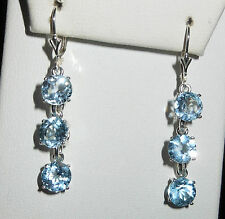 STERLING SILVER .925 SKY BLUE TOPAZ EARRINGS 7MM 9CTW ONE OF A KIND! LEVER BACK