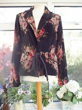 FABULOUS *ROSHANARA* GREY & PINK  ROSES VELVET FLORAL JACKET WITH RIBBON TIES L