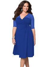 Ladies Sexy Sugar & Spice Sheer Evening Party Pencil Blue Dress Plus Size 16