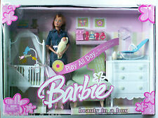 Midge & Baby Barbie Doll Nursery Denim Play All Day Set Family Playset NRFB Dent