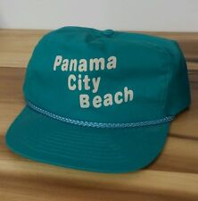 Vintage 80's Panama City Beach Florida Party Strapback Hat Cap Teal Surf MTV Era