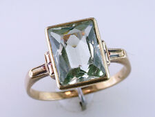 Vintage Antique 4.00ct Peridot 10K Yellow Gold Art Deco Cocktail Ring