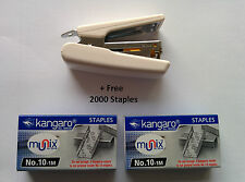 KANGARO MINI-10 STAPLER WITH STAPLE REMOVER HOOK FREE 2000 STAPLES OFFICE IVORY