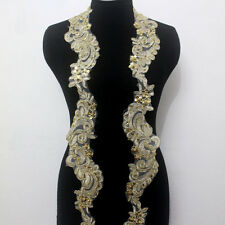 1yard Embroidery Corded Gold Metallic Beaded Sequins Lace Trim Applique Wide10cm