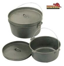 OUTBACK 4.5 QUART Cast Iron Dutch Camp Oven Heavy Duty Pot Pan Camping Cookware