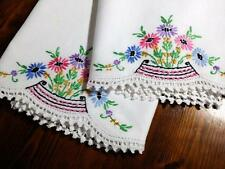 "Vintage Cotton Pillow Case Set embroidered Floral Crochet Lace 20""x 31"""