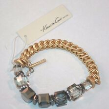 Kenneth Cole faceted gray bead bracelet half stretch bracelet gold tone