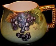 PL Limoges Cider Lemondade Pitcher Signed OMG Grapes Gold Handles