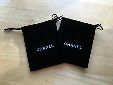CHANEL Small Cosmetic Makeup Buttons Velvet Travel Black Pouch Drawstring Bag