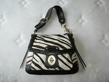 COACH Zebra Haircalf Legacy Slim Flap w/ Kisslock Coin Purse Hobo Bag Purse RARE