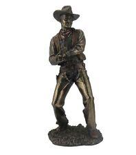 """12.5"""" Cowboy Firing a Pistol Gun Statue Western Figurine Country Figure"""