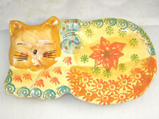 Italian Pottery Spoon Rest - Tan Face Napping Cat w/ Large Orange Flower