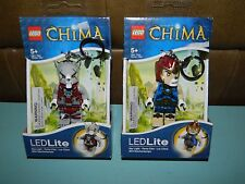 Lot of 2 Lego LEGENDS OF CHIMA Wolf & Laval LED Lite Keychains NEW!