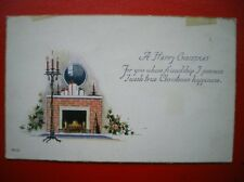POSTCARD GREETINGS A HAPPY CHRISTMAS - OPEN FIRE