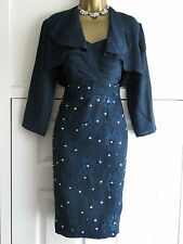 MOTHER OF THE BRIDE GROOM DRESS & JACKET SUIT SIZE 12 NAVY BLUE LACE OUTFIT